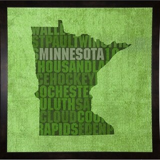 "Minnesota State Words Framed Print 11.75""x11.75"" by David Bowman"