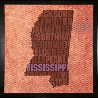"Mississippi State Words Framed Print 11.75""x11.75"" by David Bowman"