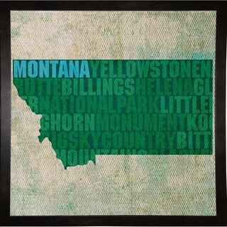 "Montana State Words Framed Print 11.75""x11.75"" by David Bowman"