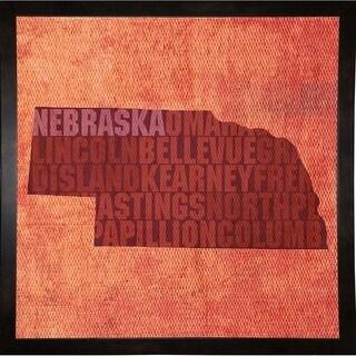 "Nebraska State Words Framed Print 11.75""x11.75"" by David Bowman"