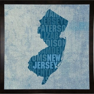 """New Jersey State Words Framed Print 11.75""""x11.75"""" by David Bowman"""