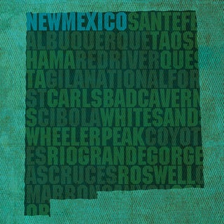 "New Mexico State Words Framed Print 11.75""x11.75"" by David Bowman (More options available)"