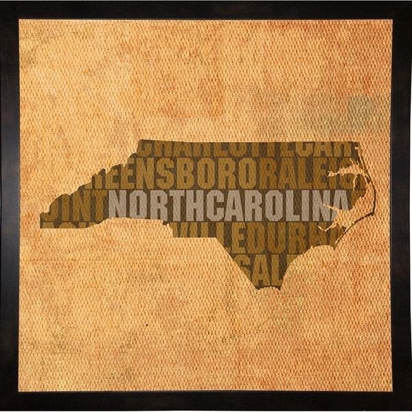 "North Carolina State Words Framed Print 11.75""x11.75"" by David Bowman"
