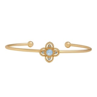 Isla Simone 14K Gold Plated Blue Opal Isotoxal Star Bangle Bracelet, Made with Swarovski Elements Crystals