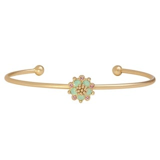 Isla Simone 14K Gold Plated Pacific Blue Opal Flower Bangle Bracelet, Made with Swarovski Elements Crystal El