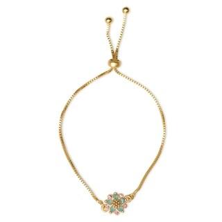 Isla Simone 14K Gold Plated Pacific Blue Opal Flower Adjustable Bracelet
