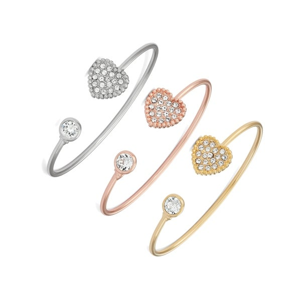 c3f6aeb92 Isla Simone Gold, Rose Gold, or Rhodium Plated Pave Heart Bangle Bracelet,  Made