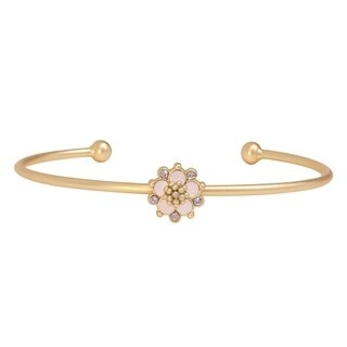 Isla Simone 14K Gold Plated Pink Water Opal Flower Bangle Bracelet, Made with Swarovski Elements Crystal Elem