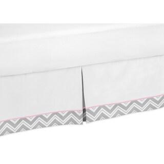 Sweet Jojo Designs Grey and Pink Zigzag Queen-size Bedskirt (As Is Item)