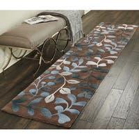 "Nourison Contour Brown/ Blue Floral Runner Rug (2'3 x 10') - 2'3"" x 10' Runner"
