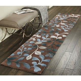 "Nourison Contour Brown/ Blue Floral Runner Rug (2'3 x 10') - 2'3"" x 10'"