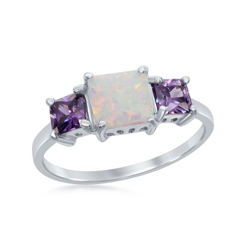 La Preciosa Sterling Silver Four Prong Triple Square White Created Opal W/Amaethyst Cubic Zirconia Ring - Purple
