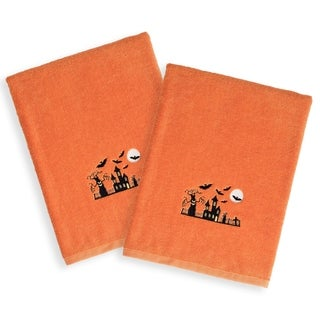 Halloween Embroidered Haunted House on Orange Turkish Cotton Hand Towels (Set of 2)