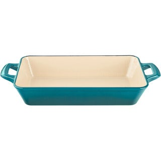 La Cuisine Large Deep Cast Iron Roasting Pan with Enamel Finish