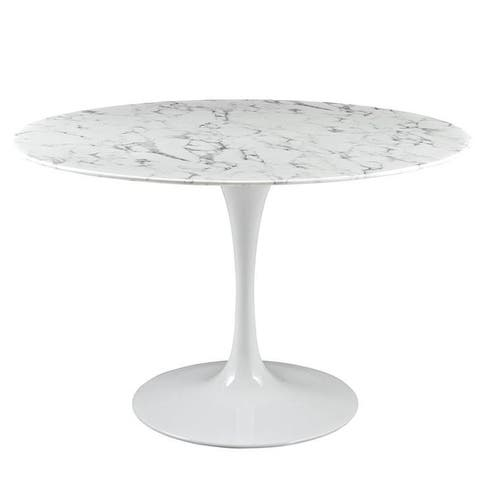 """EdgeMod Daisy 48"""" Artificial Marble Dining Table in White"""