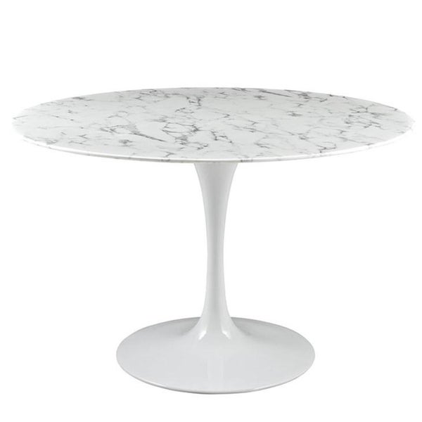 """Poly and Bark Daisy 48"""" Artificial Marble Dining Table in White"""
