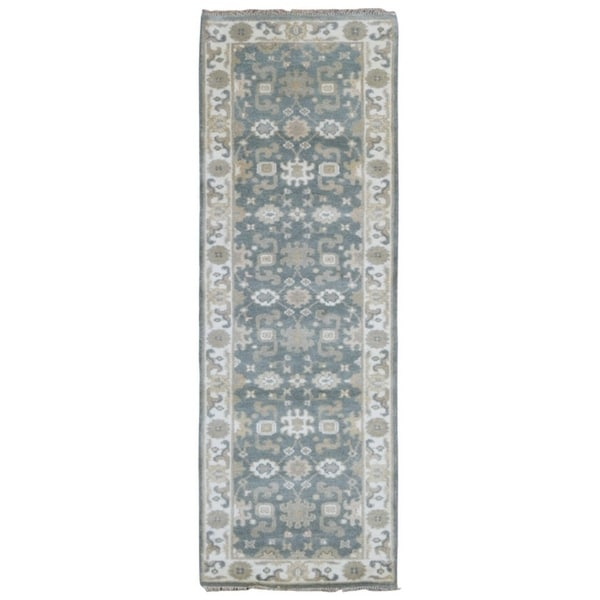 FineRugCollection Hand-knotted Oushak Light Blue and Beige Wool Runner - 2'8 x 7'10