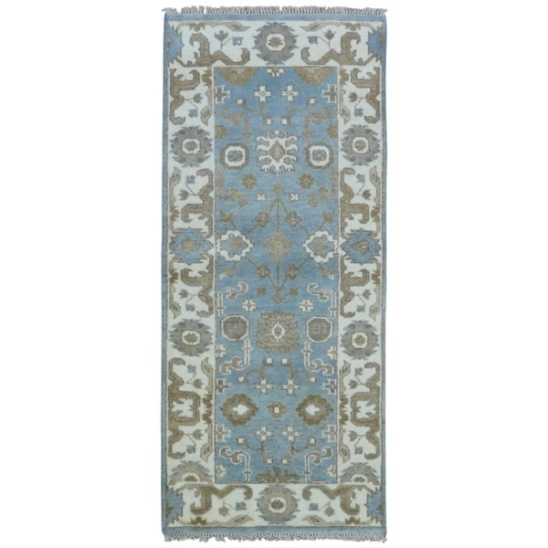 FineRugCollection Hand-knotted Oushak Blue and Beige Wool Rug - 2'7 x 6'