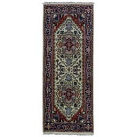FineRugCollection Hand-knotted Serapi Navy and Ivory Wool Rug (2'4 x 6'1)