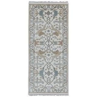 FineRugCollection Hand-knotted Oushak Beige Wool Rug - 2'7 x 5'10