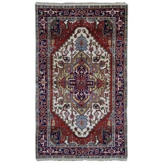 FineRugCollection Hand-knotted Serapi Navy and Beige Wool Rug - 4'11 x 8'
