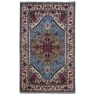 FineRugCollection Hand-knotted Serapi Blue and Beige Wool Rug - 2'6 x 5'1