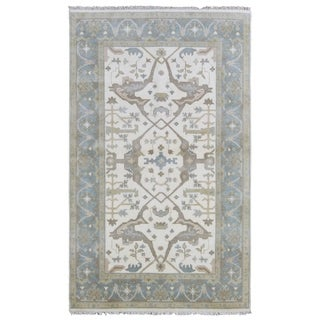 FineRugCollection Hand-knotted Oushak Beige and Blue Wool Rug - 4'10 x 8'