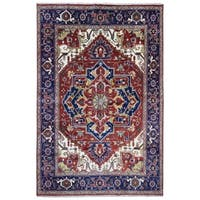 FineRugCollection Hand-knotted Serapi Red and Navy Wool Rug - 10' x 13'6