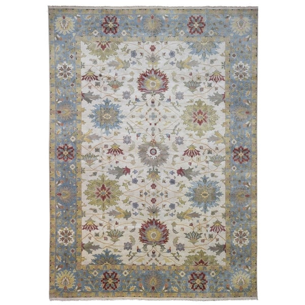 FineRugCollection Hand-knotted Very Fine Mahal Beige and Blue Wool Rug - 10' x 13'9