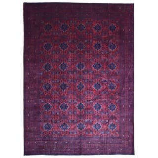 FineRugCollection Hand-knotted Very Fine Khal Mohammadi Afghan Red and Black Wool Rug - 9'10 x 14'3