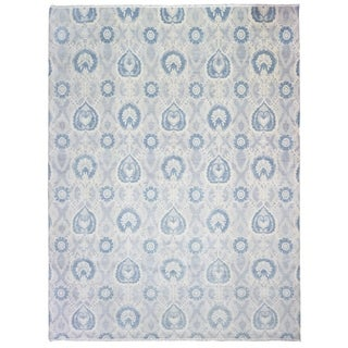 FineRugCollection Hand-knotted Turkish Knot Oushak Beige and Blue Wool Rug - 9'4 x 13'9