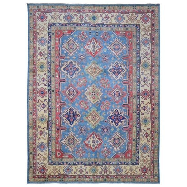FineRugCollection Hand-knotted Fine Kazak Blue and Beige Wool Rug - 9'10 x 13'