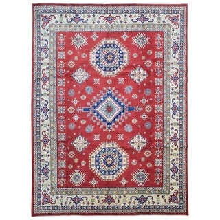 FineRugCollection Hand-knotted Fine Pakistan Kazak Red and Beige Wool Rug (9' x 12'2)