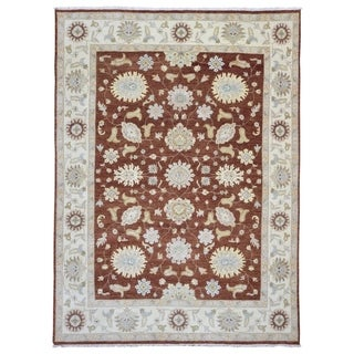 FineRugCollection Hand-knotted Fine Peshawar Red and Beige Wool Rug - 9'1 x 12'