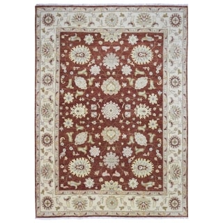 FineRugCollection Hand-knotted Fine Peshawar Red and Beige Wool Rug - 9'10 x 13'