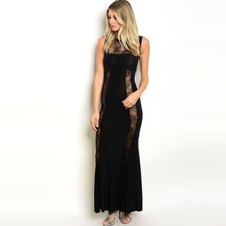Shop The Trends Women's Sleeveless Gown With Allover Sheer Lace Panels