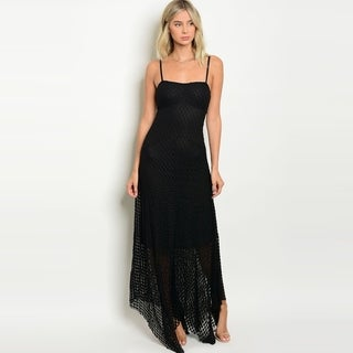 Shop The Trends Women's Spaghetti Strap Lace Maxi Dress With Uneven Hem Design