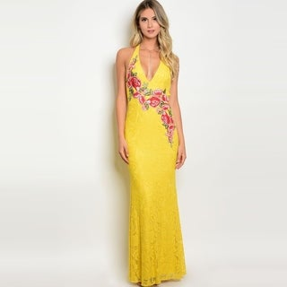 Shop The Trends Women's Sleeveless Lace Maxi Dress With Halter Neckline And Floral Patch Deatil