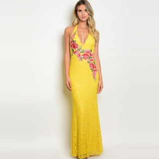 Shop The Trends Women's Sleeveless Lace Maxi Dress With Halter Neckline And Floral Patch Deatil (Option: Yellow Multi - S)