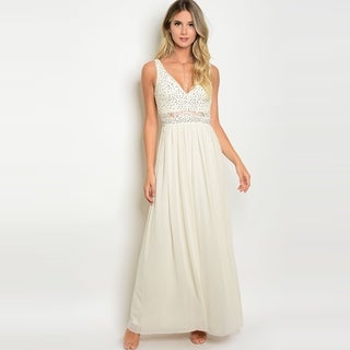 Shop The Trends Women's Sleeveless A-Line Cut Gown With Jeweled Accents And V-Neckline