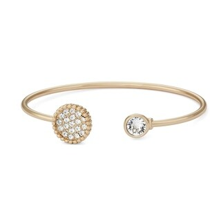 Isla Simone 14K Gold Plated Pave Crystals Circle Bangle Bracelet, Made with Swarovski Elements Crystal Elemen