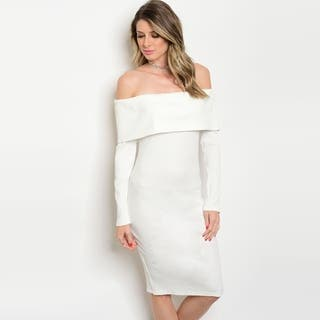 Shop The Trends Women's Off Shoulder Long Sleeve Ribbed Midi Dress With An Overlay Design|https://ak1.ostkcdn.com/images/products/18029607/P24196871.jpg?impolicy=medium