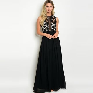 Shop The Trends Women's Sleeveless Gown With Crochet Top And Chiffon Skirt