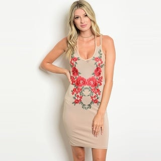 Shop The Trends Women's Double Spaghetti Strap Bodycon Dress With Floral Patches (3 options available)