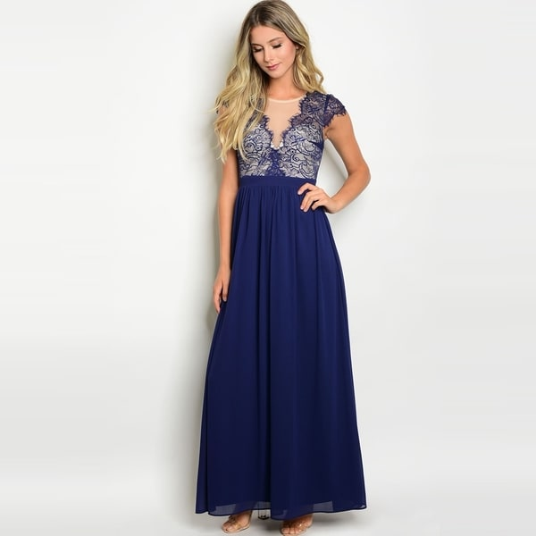Shop The Trends Women's Cap Sleeve Gown With Lace Top And Chiffon Skirt