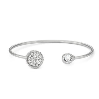 Isla Simone Rhodium Plated Pave Crystals Circle Bangle Bracelet, Made with Swarovski Crystal Elements - White