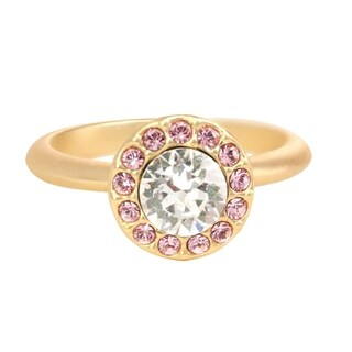 Isla Simone Gold Plated Clear and Light Rose Halo Ring, Made with Swarovski Crystal Elements