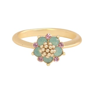 Isla Simone Gold Plated Blue Opal and Light Rose Flower Ring, Made with Swarovski Element Crystals
