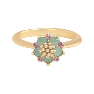 Isla Simone Gold Plated Blue Opal and Light Rose Flower Ring, Made with Swarovski Crystal Elements
