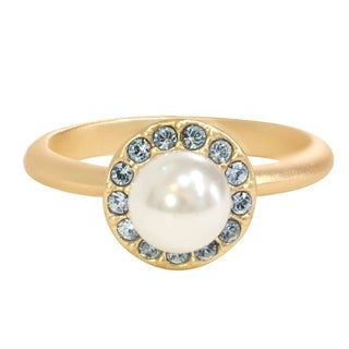 Isla Simone Gold Plated Sapphire and White Glass Pearl Halo Ring, Made with Swarovski Elements Crystal Elemen